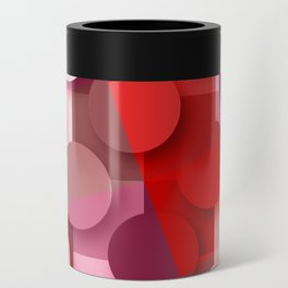 dots & squares red Can Cooler