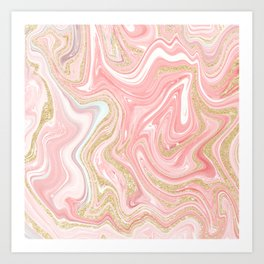 Modern pink coral marble gold glitter pattern Art Print
