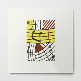 Musical notes pop art digitally repainted R. Lichtenstein for home decoration Metal Print