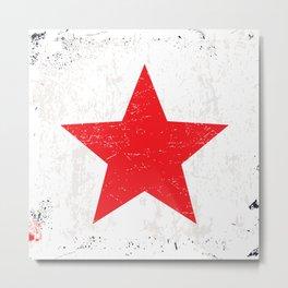 Red Grunge Star Metal Print