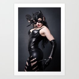 Sexy brunet in cat mask and latex costume Art Print