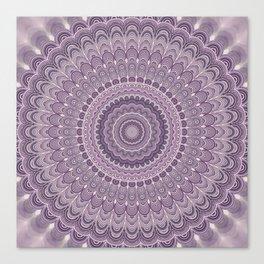 Purple feather mandala Canvas Print