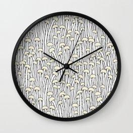 Enokitake Mushrooms (pattern) Wall Clock