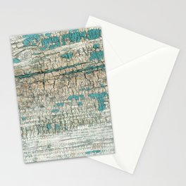Rustic Wood Turquoise Weathered Paint Wood Grain Stationery Cards
