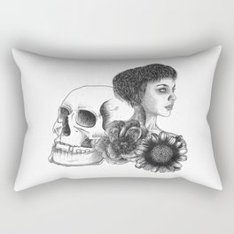 The Girl With A Skull And Flowers Rectangular Pillow