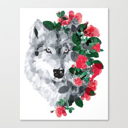Wolf with the roses Canvas Print