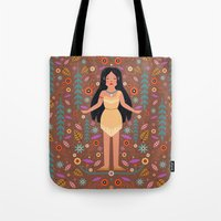 pocahontas Tote Bags featuring Pocahontas by Carly Watts