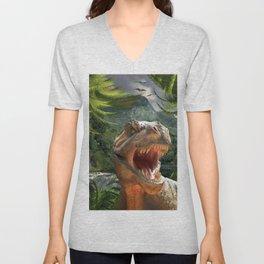 T Rex in Prehistoric Landscape Unisex V-Neck