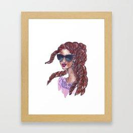 Braids + Sunglasses Framed Art Print