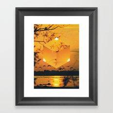 Hexagon Sunset Framed Art Print
