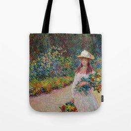 """Claude Monet """"Jeune fille dans le jardin de Giverny"""" Tote Bag"""