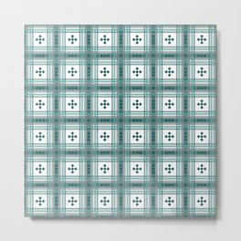 Preppy Plaid in Teal, Gray and White Metal Print