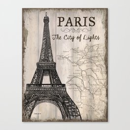 Vintage Travel Poster Paris Canvas Print