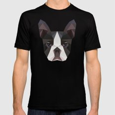 Bostonterrier triangles Black Mens Fitted Tee LARGE