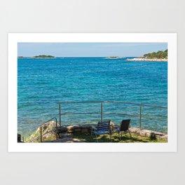Rocky beach, two chairs and bue sea in Istria, Croatian coast Art Print