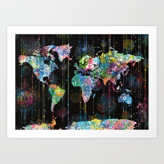 world map mandala black 1 Art Print