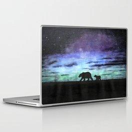 Aurora borealis and polar bears (black version) Laptop & iPad Skin