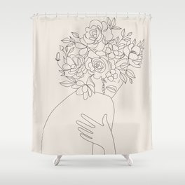 Woman with Flowers Minimal Line III Shower Curtain