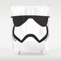 storm trooper Shower Curtains featuring Storm Trooper Block by anji