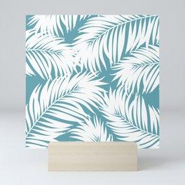 Palm Tree Fronds White on Soft Blue Hawaii Tropical Décor Mini Art Print