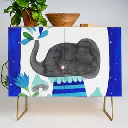 elephant with raindrops in blue watercolor illustration Credenza