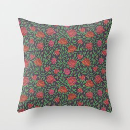 Scarlet roses with green leaves on dark background Throw Pillow