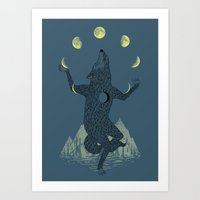 ilovedoodle Art Prints featuring Moon Juggler by I Love Doodle