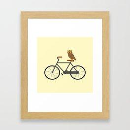 Owl Riding Bike Framed Art Print