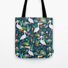 Floral Pelican Tote Bag