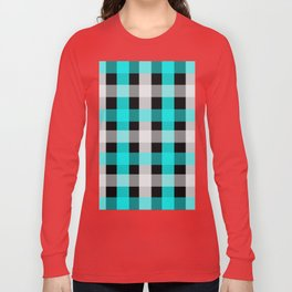 blue black checks Long Sleeve T-shirt