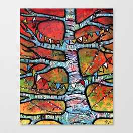 Sharing Prayers for Peace - Prayer Flags in Tree  Canvas Print