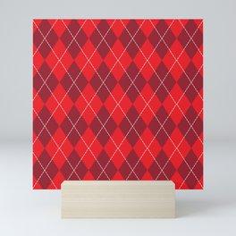 Traditional Red Burgundy Argyle Plaid Diamond Print Mini Art Print