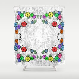Abstract floral frame on grunge background Shower Curtain