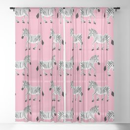 Zebra Parade - Classic Black and White on Bright Pink Sheer Curtain