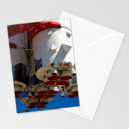 Cluster Of A Vintage Space Rocket Engines Against The Blue Sky Stationery Cards