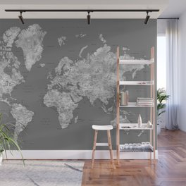 Dark gray watercolor world map with cities Wall Mural