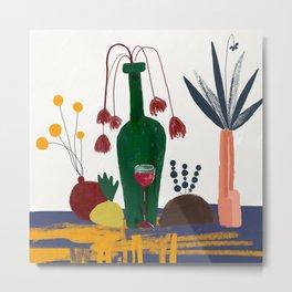 Wine and flowers Metal Print