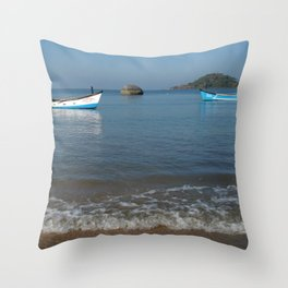 Boats Off Palolem Beach Throw Pillow