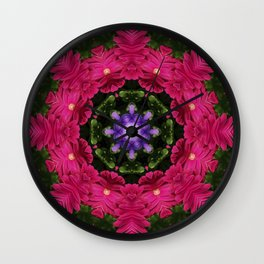 Hot Pink Gerbera And Cool Blue Viola Kaleidoscope Wall Clock