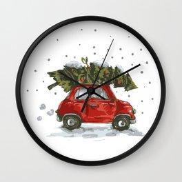 Vintage Car Christmas Pine Tree Wall Clock