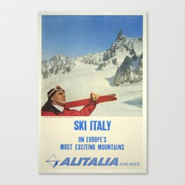 Vintage Travel Poster, On Europe's Most Exciting Mountains- Vintage Travel Sports Poster Canvas Print