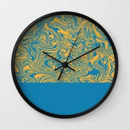 Liquid Swirl - Hawaiian Surf Blue and Citrus Yellow Wall Clock