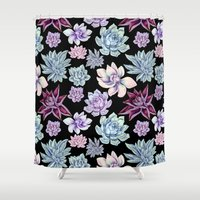 succulents Shower Curtains featuring Succulents by Miranda Montes
