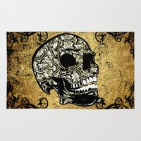 skull Area & Throw Rugs featuring Skull by nicky2342