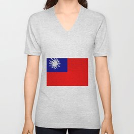 Extruded flag of Taiwan Unisex V-Neck
