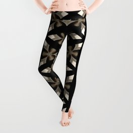 Black, Tan and Cream Kaleidoscope Pattern Leggings