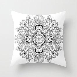 Flowery Mandala Throw Pillow