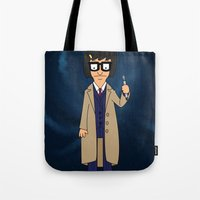 tina crespo Tote Bags featuring Doctor Tina, Time Lord by GrahamBailey