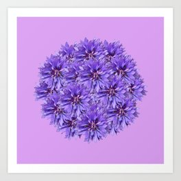 Purple Flower Ball Illustration - Lilac Background #decor #society6 #buyart Art Print