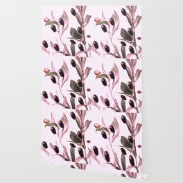 Olive tree branch with pink tones on white background Wallpaper